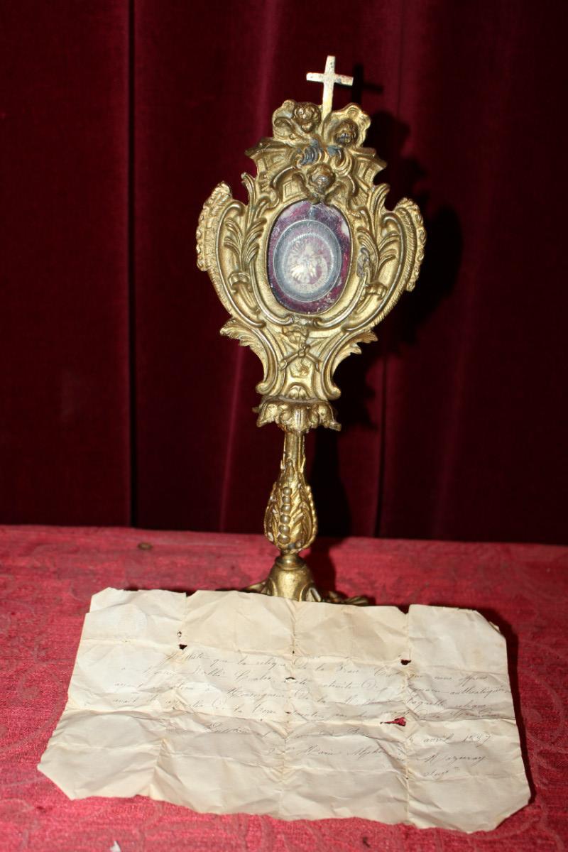 1 Baroque Reliquary Relic Of The True Cross With Original