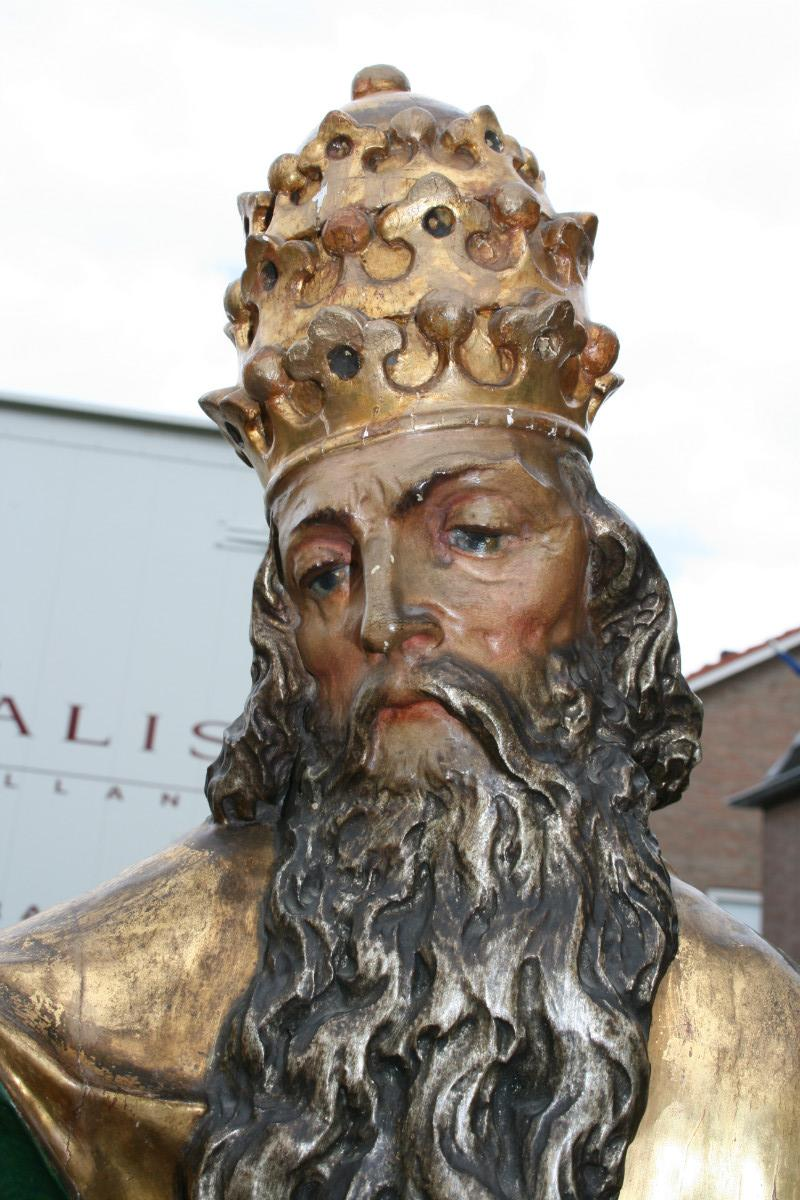 antique religious statue wood polychrome anno 1855 ...