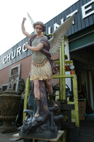 Antique Statue St Michael Life Size Anno 1875 Belgium