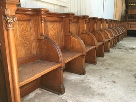 Choir Furniture Style Gothic En Oak Wood, Belgium 19th Century