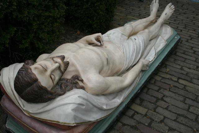 Antique Statue Died Christ Life Size Plaster Anno 1870