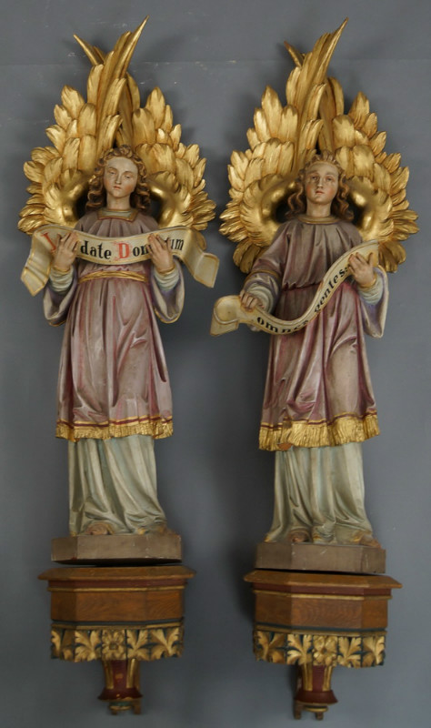 Pair Of Matching Fully Hand Carved Angels On Wall Consoles Wood