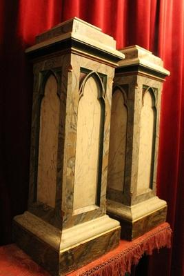 Pedestals Wood / Polychrome (Marbled) Gothic Style En Wood Marbled, Belgium  19th Century